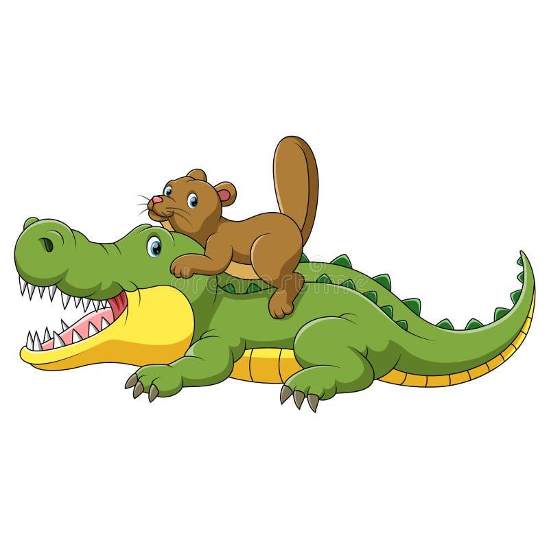 愉快的鳄鱼和逗人喜爱的海狸动画片 库存例证