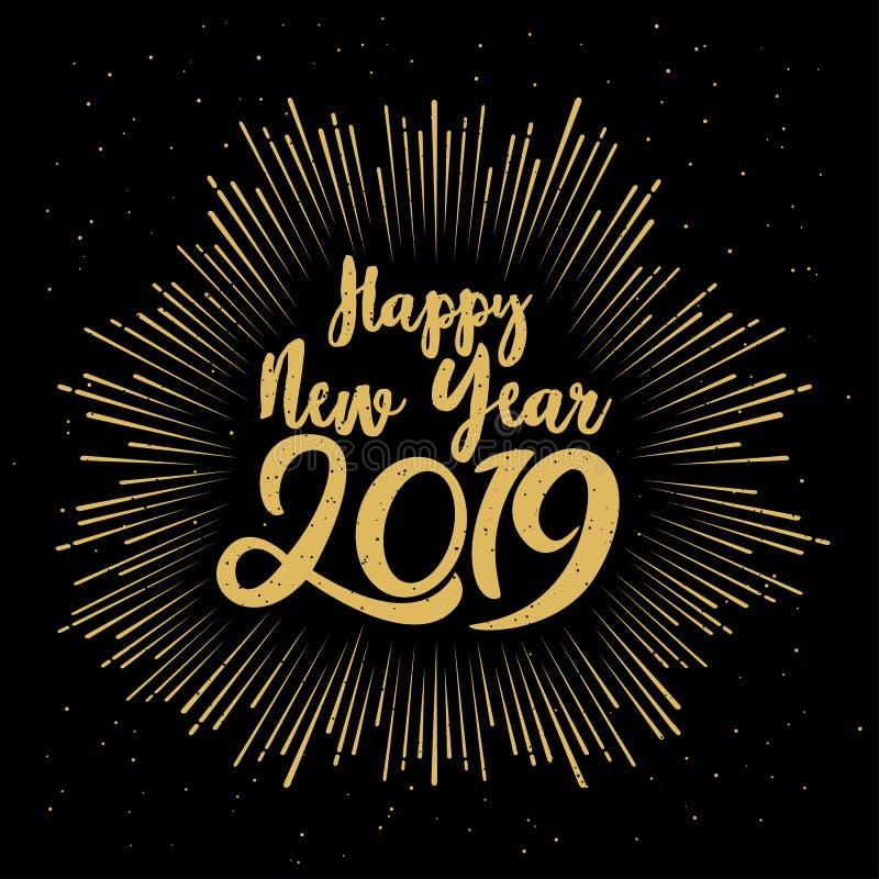 愉快的2019个新年 导航与在构成和爆炸假日葡萄酒欢乐标签上写字的例证 向量例证