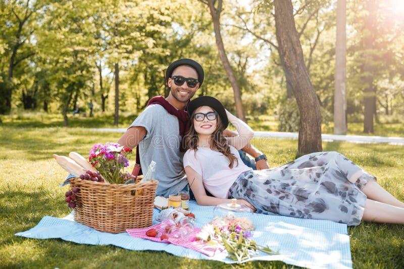 愉快的年轻夫妇有野餐在公园 库存图片