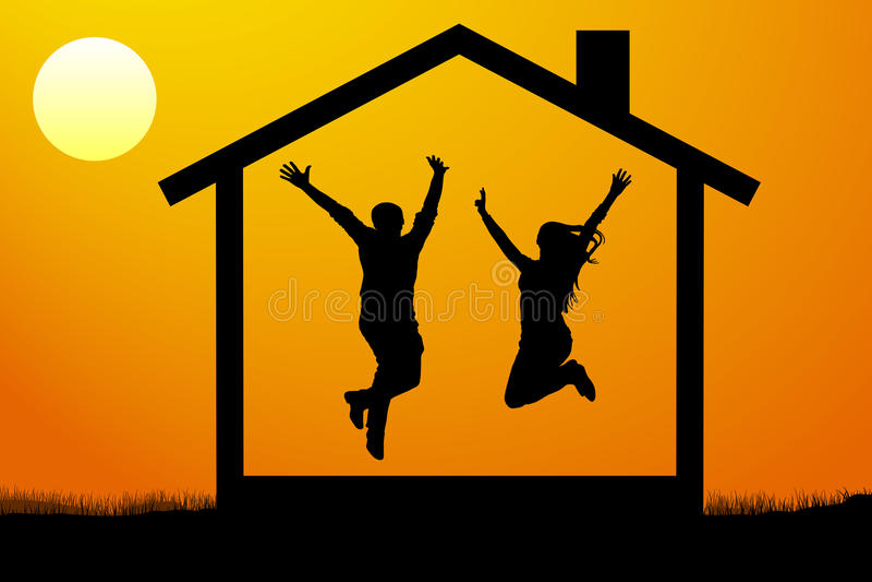 愉快的年轻夫妇,家庭搬入他们自己新的家在日落传染媒介例证 皇族释放例证