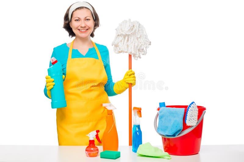 愉快的主妇烹调了清洗的房子擦净剂 免版税库存图片