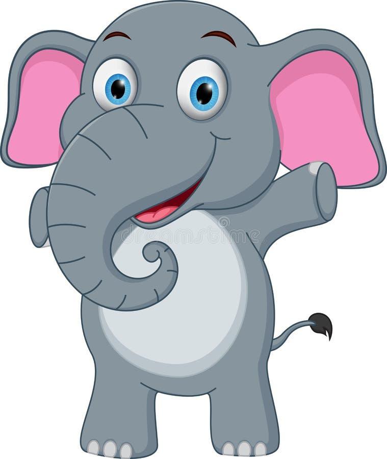 愉快的婴孩大象动画片 向量例证