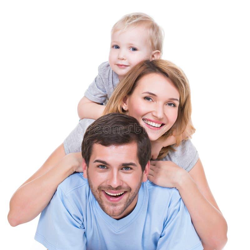 愉快的年轻家庭画象有孩子的 库存图片