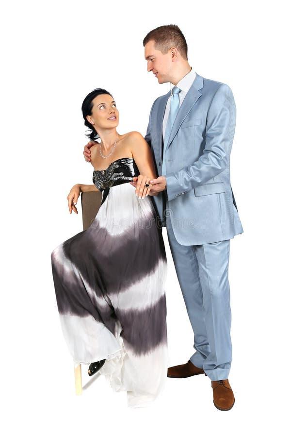 愉快的年轻爱恋的夫妇全长画象  库存图片