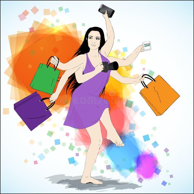 愉快的购物传染媒介例证 向量例证
