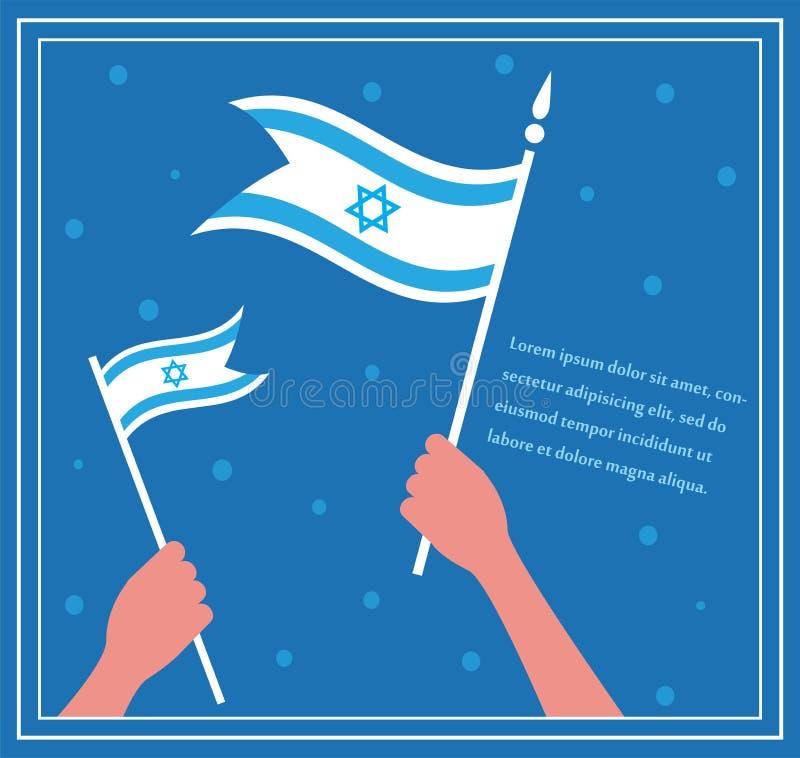 愉快的以色列独立日。拿着旗子的手。 库存例证