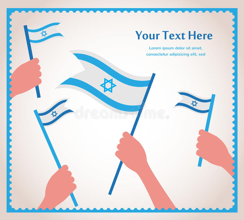 愉快的以色列独立日。拿着旗子的手。 皇族释放例证