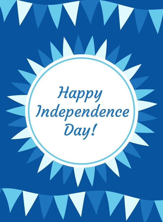 愉快的以色列美国独立日贺卡、海报、飞行物、邀请与国民颜色和星,诗歌选,旗子 库存例证