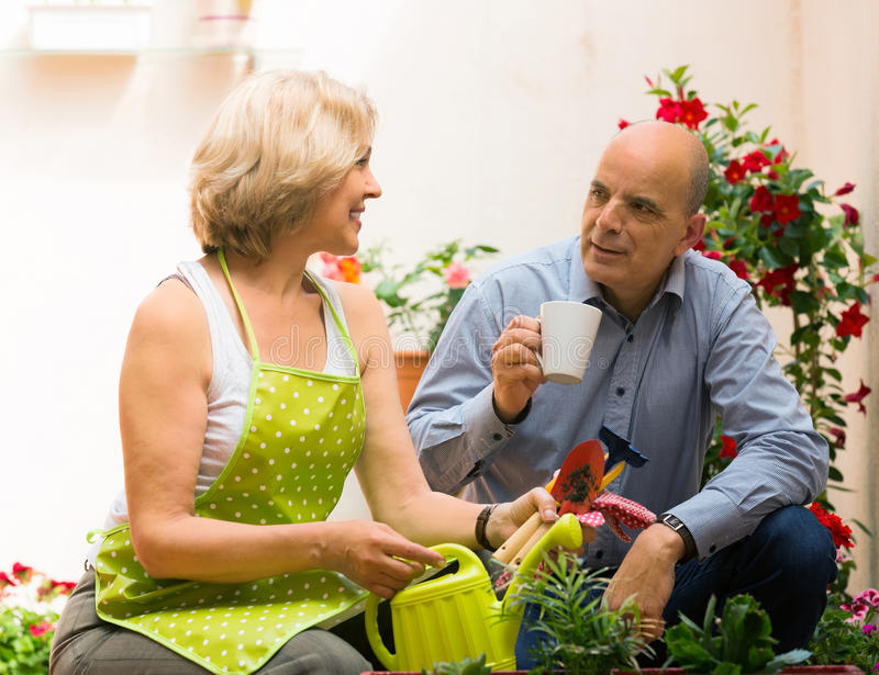 愉快的年长在大阳台的夫妇饮用的咖啡 图库摄影