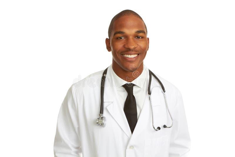 愉快的年轻非裔美国人的医生 库存照片