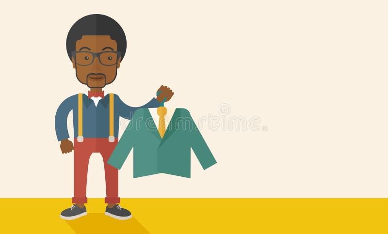 愉快的年轻非洲人选择完善穿衣 库存例证