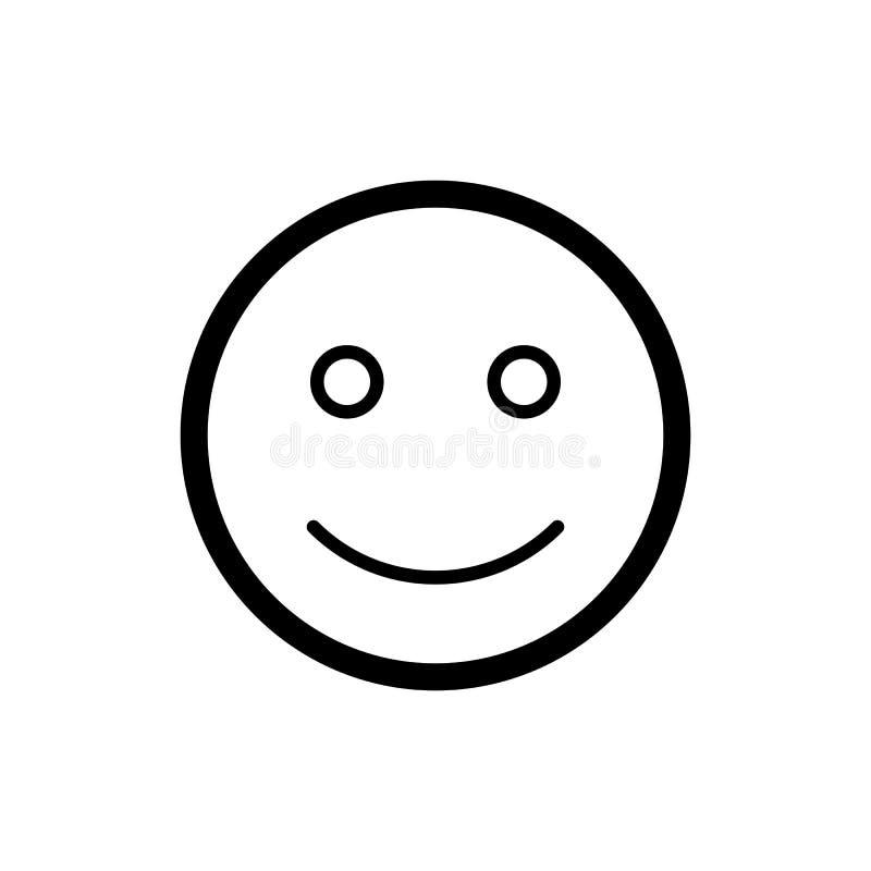 愉快的兴高采烈的传染媒介象 黑白微笑例证 概述线性情感象 库存例证