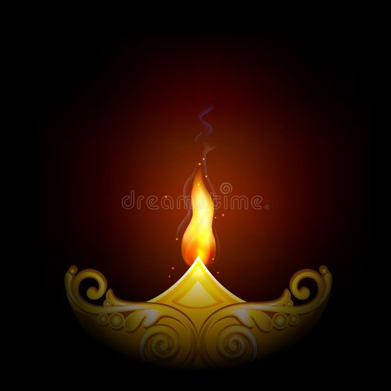 愉快的Diwali的装饰的Diya 皇族释放例证