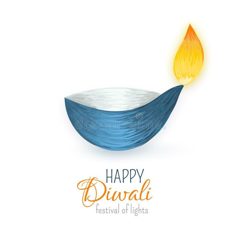 愉快的diwali 印地安diya 灯节和火 向量例证