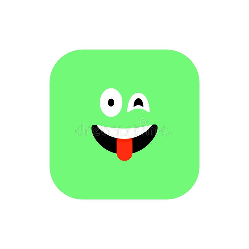 愉快的Emoji象平的样式 逗人喜爱的意思号被环绕的正方形对世界微笑天 快乐,洛勒,享用面孔 ( 向量例证