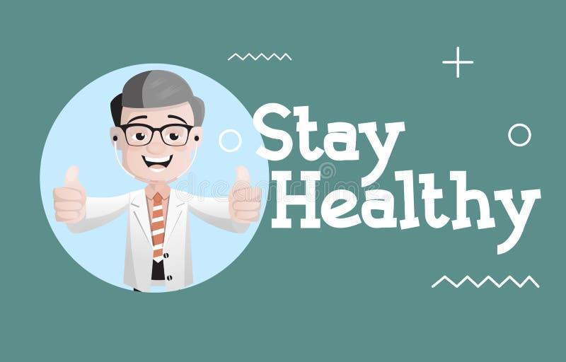 愉快的Giving Stay Healthy Tips医生传染媒介 向量例证