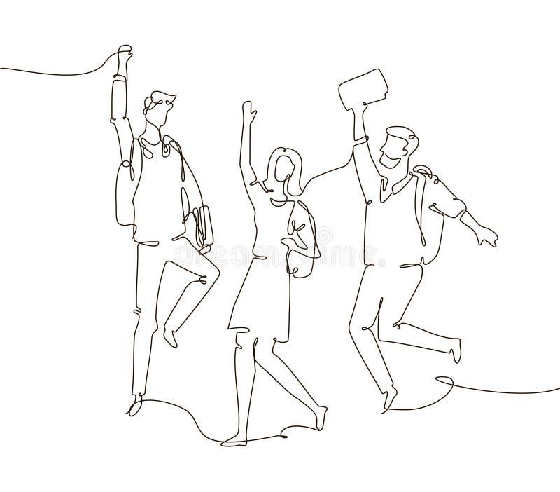 愉快的groupmates -一条线设计样式例证 向量例证