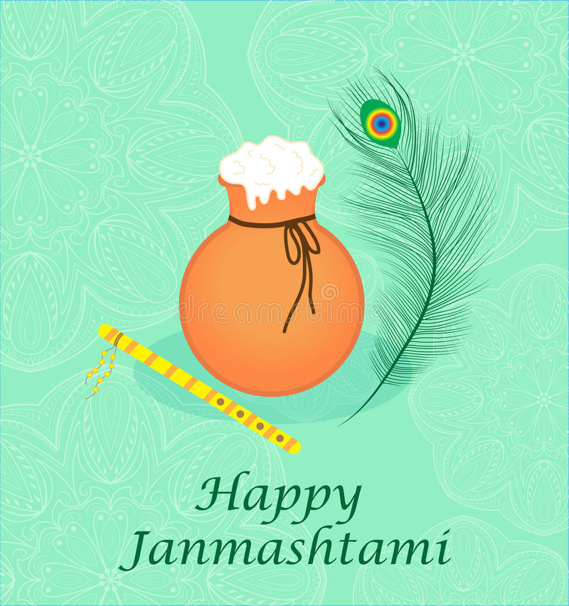 愉快的janmashtami,克里希纳诞生的印地安宴餐  贺卡janmashtami 向量例证
