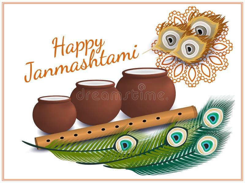 愉快的Janmashtami 印第安节日 在Janmashtami的达西酸奶handi,庆祝克里希纳诞生  也corel凹道例证向量 库存图片