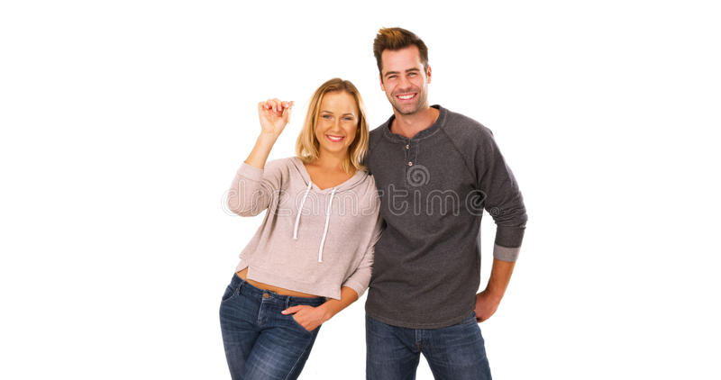 愉快的millennials激动是白色的新的房主 免版税库存照片