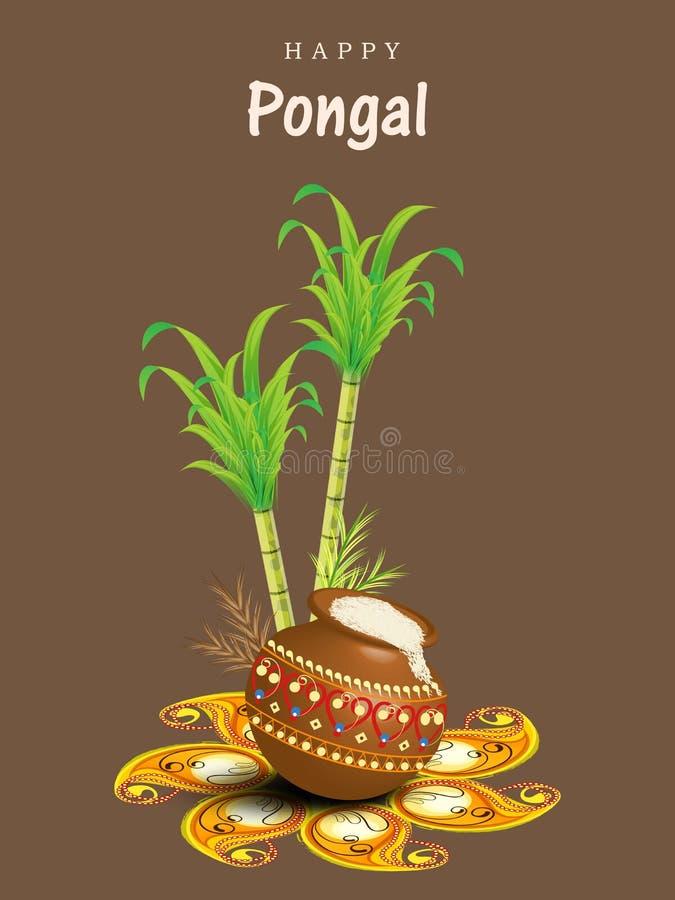 愉快的Pongal节日庆祝概念 向量例证