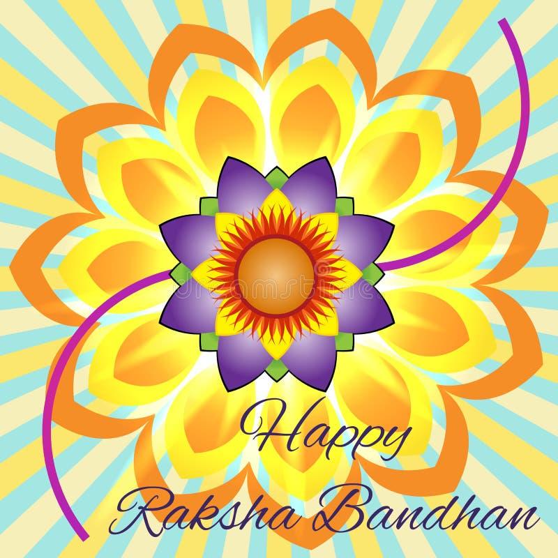 愉快的Raksha Bandhan 与美丽的rakhi的典雅的贺卡兄弟印地安节日的和姐妹爱,庆祝 库存例证