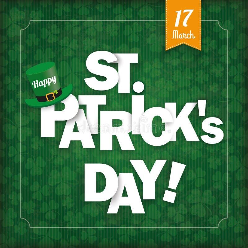 愉快的St Patricks天葡萄酒盖子 库存例证