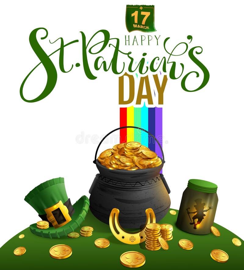 愉快的St Patricks天贺卡 文本和假日辅助部件大锅有金子的,彩虹,妖精,金黄马掌, 库存例证