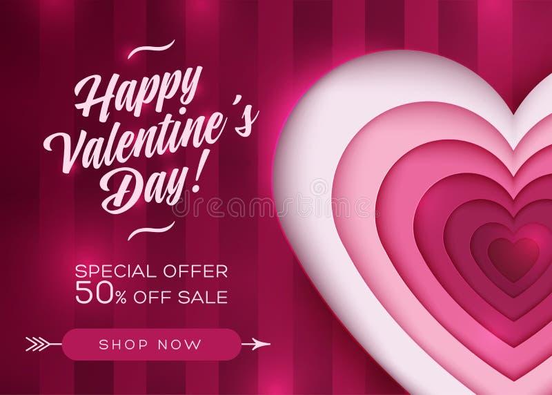 愉快的Valentine's天销售传染媒介卡片 库存例证
