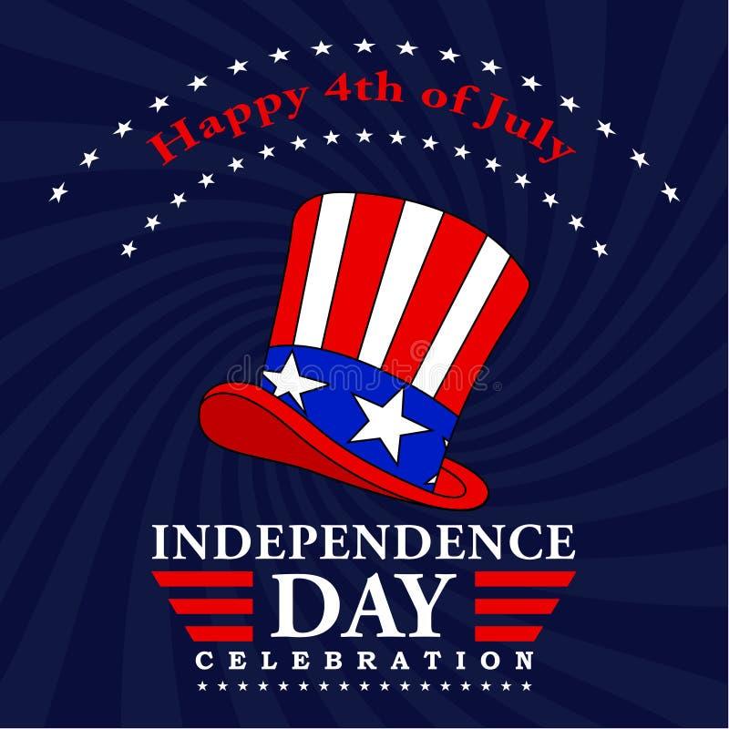 愉快第4 7月背景 7月装饰四 与文本和山姆大叔帽子的美国美国独立日设计 向量 库存例证