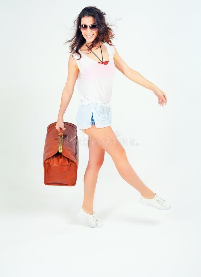 愉快美好妇女旅行 免版税库存图片