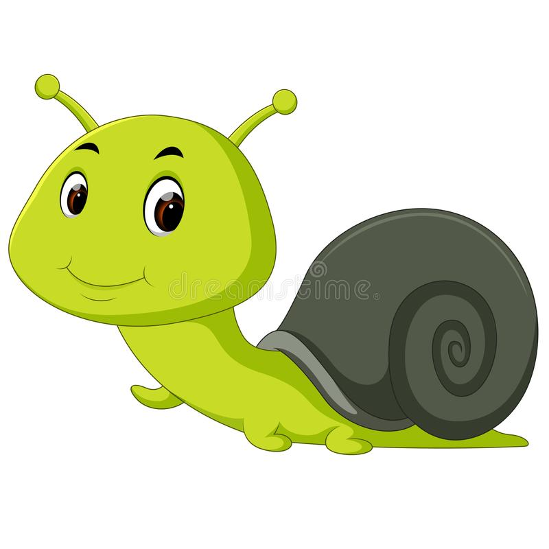 愉快蜗牛爬行 向量例证