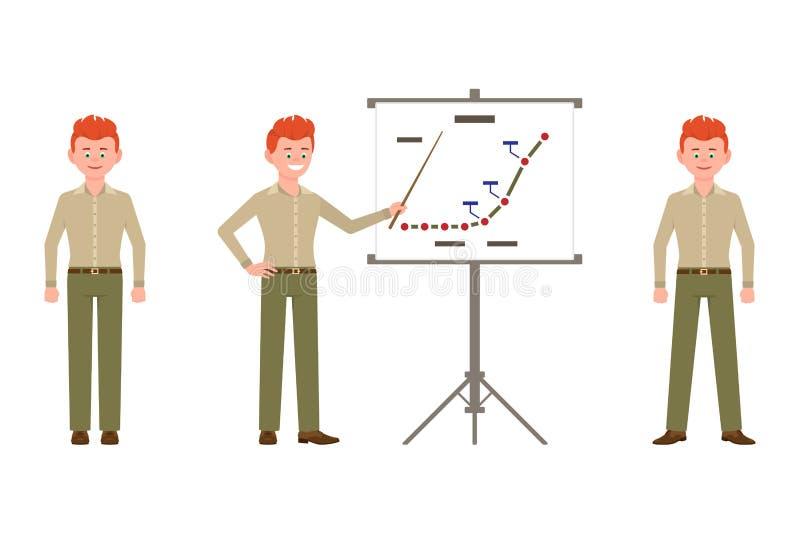 愉快,微笑,红色头发年轻办公室工作者人传染媒介例证 站立的正面图,做介绍男性角色 库存例证