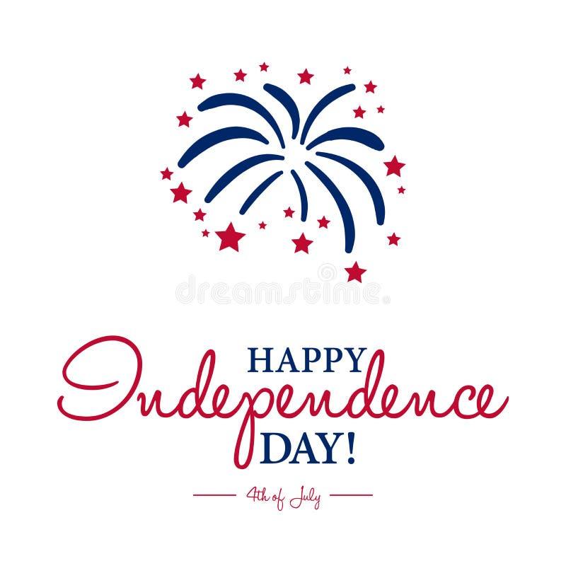 愉快7月第4 -美国独立日卡片或者背景 向量例证