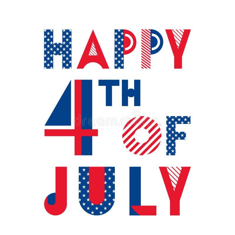 愉快7月第4 美国的美国独立日 时髦几何字体 皇族释放例证