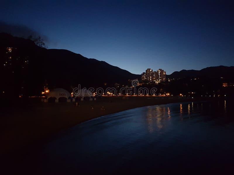 愉景湾在晚上 图库摄影