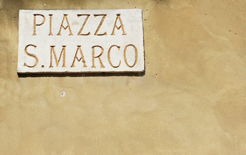 意味在意大利语圣马克广场的圣马可广场 免版税库存图片