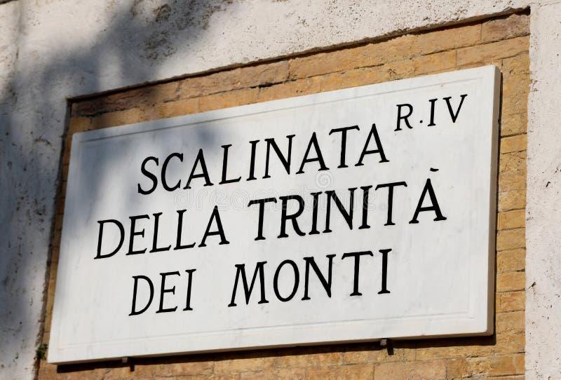 意味TrinitÃ的楼梯街道的名字 dei Mont 库存图片