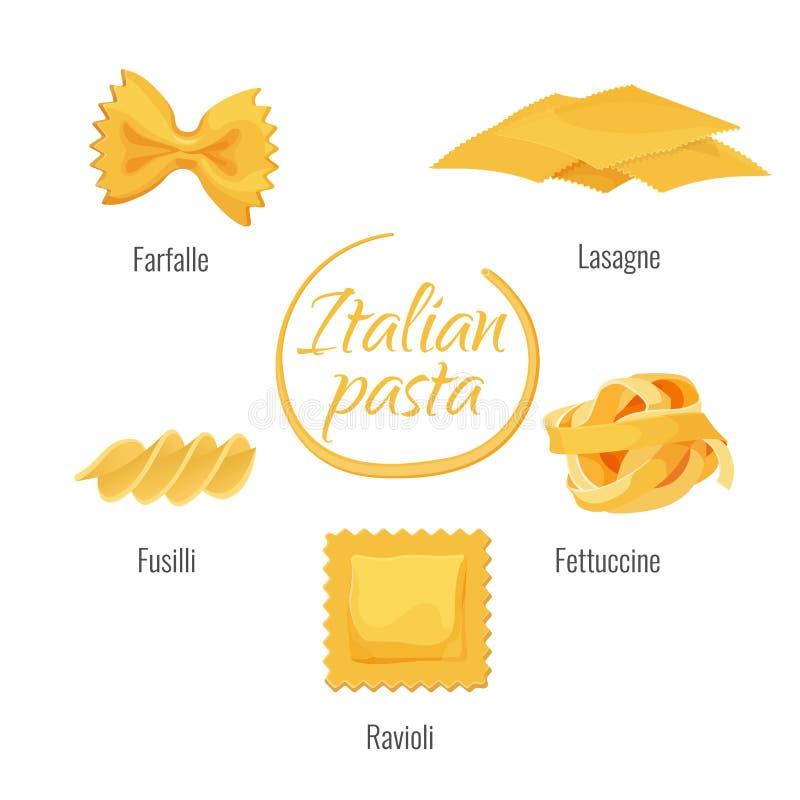 意大利、farfalle、烤宽面条、意大利细面条和馄饨,fusilli面团  向量例证