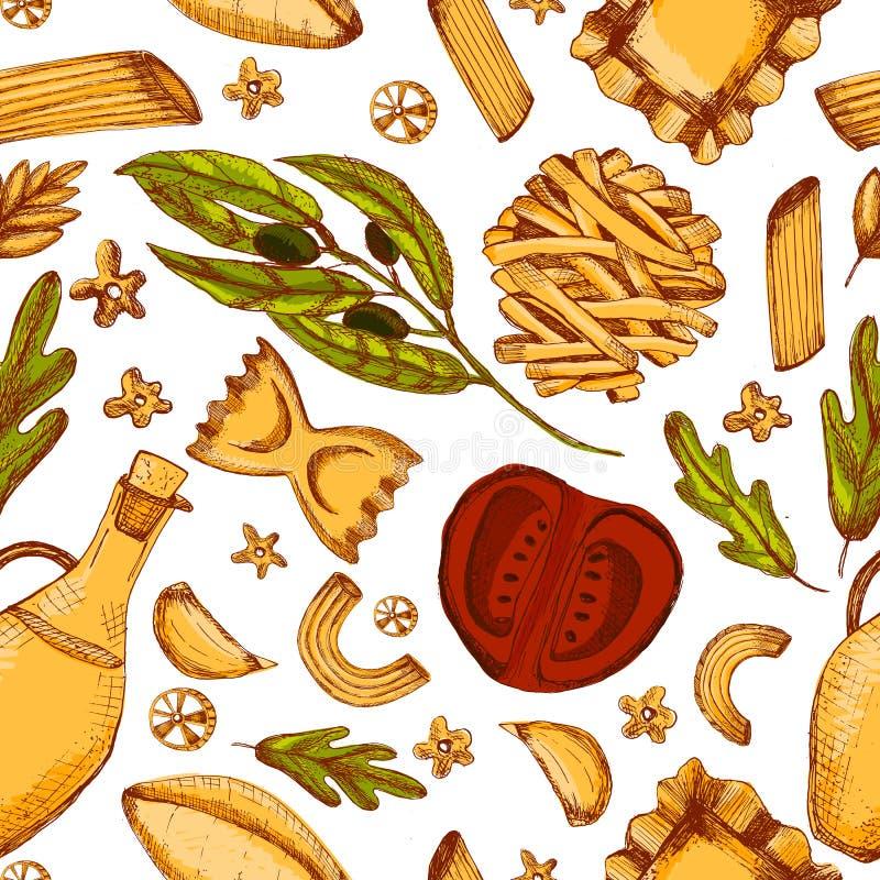 意大利与另外面团的剪影食物无缝的样式reastaurant菜单的 在白色的可口手拉的墙纸 向量例证