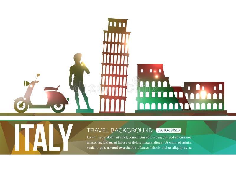 意大利与地方的旅行背景文本的 向量例证