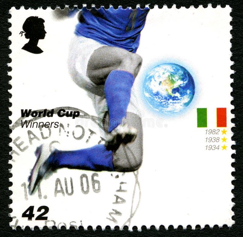 意大利世界杯优胜者英国邮票 图库摄影