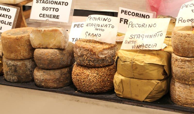 意大利人的pecorino乳酪的许多类型书面的乳酪 免版税库存照片