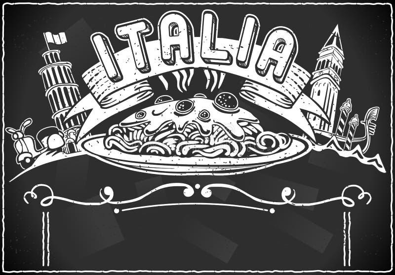 意大利人第一个路线菜单的葡萄酒图象要素 库存例证