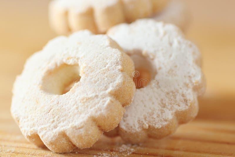 意大利人Canestrelli曲奇饼洒与糖粉 库存图片