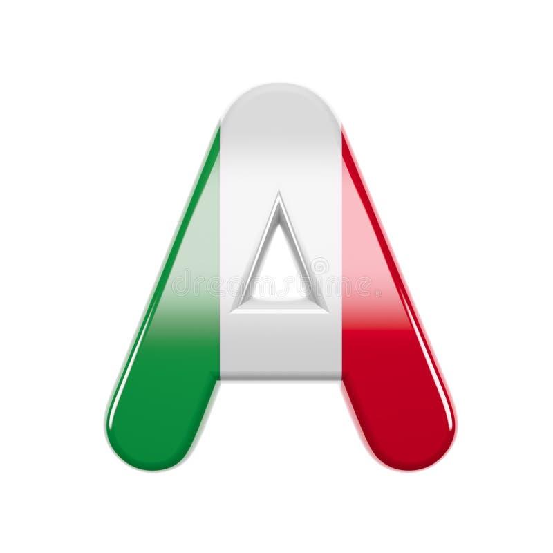 意大利信件A -资本3d意大利旗子字体-适用于意大利、欧洲或者罗马关系了主题 库存例证