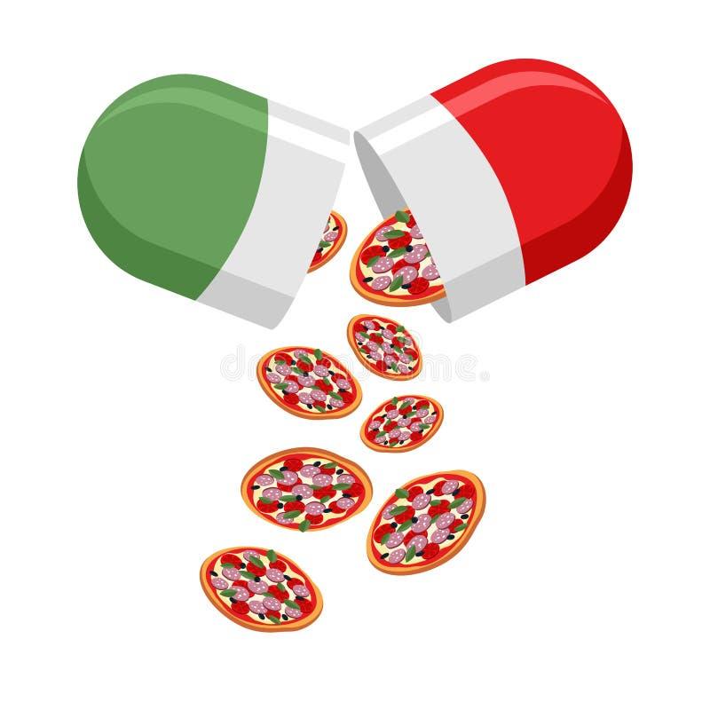 意大利全国药片 爱国的医学 从药片秋天o 皇族释放例证