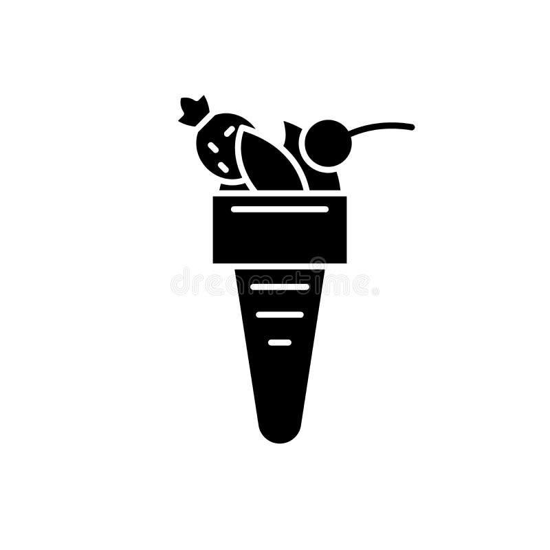 意大利冰淇淋黑象,在被隔绝的背景的传染媒介标志 意大利冰淇淋概念标志,例证 向量例证