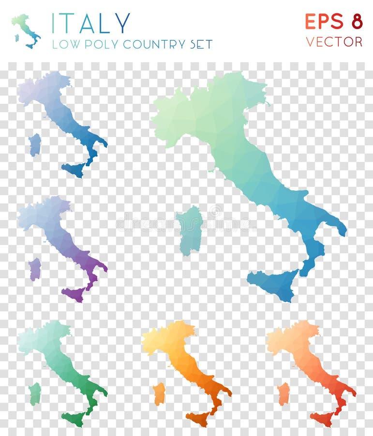 意大利几何多角形地图,马赛克样式 库存例证