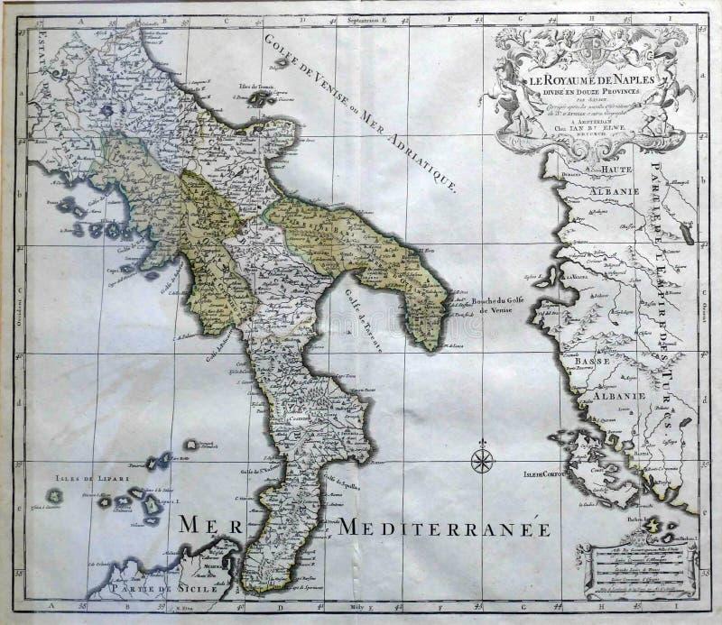 意大利南部古色古香的地图  库存图片